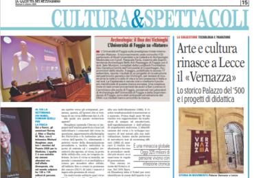 Arte e cultura rinasce a Lecce il «Vernazza». Dalla Gazzetta del Mezzogiorno del 05.10.2020